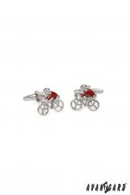 Spinki do mankietów - rowerzysta w czerwonej koszulce