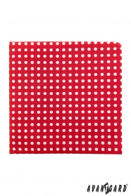 Poszetka czerwony z białymi kropkami
