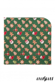 Zielona poszetka ze świątecznym wzorem
