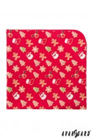 Czerwona poszetka ze świątecznym motywem piernika