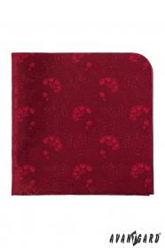 Czerwona poszetka z motywem kwiatowym