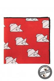 """Bawełniana poszetka czerwona """"origami"""""""