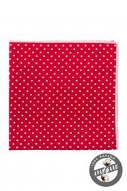 Bawełniana czerwona poszetka w białe kropki