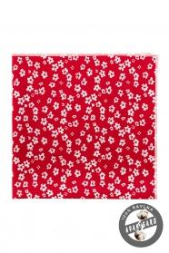 Czerwona poszetka z białymi kwiatami