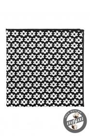 Mocna czarna poszetka wykonana z bawełny - białe kwiaty