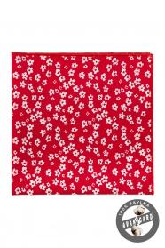 Czerwona bawełniana poszetka w różnych rozmiarach białych kwiatów