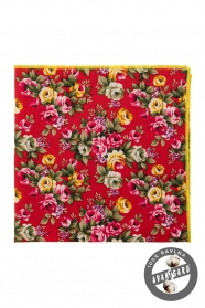 Bawełniana poszetka z wyraźnymi różowymi i żółtymi kwiatami