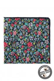 Granatowa poszetka z kolorowymi kwiatami