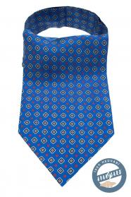 Niebieski ascot z niebiesko-czerwonym wzorem