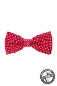 Czerwona męska muszka z bawełny, białe gwiazdki