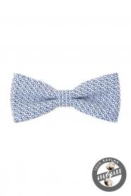 Biała bawełniana muszka, niebieskie okulary