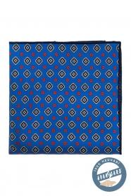 Niebieska jedwabna poszetka z kolorowym wzorem