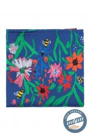 Jedwabna poszetka, pszczoły i kwiaty