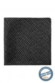Czarna jedwabna poszetka z szarym wzorem