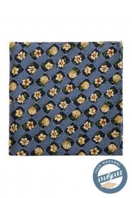 Jedwabno-niebieska poszetka z kwiatami