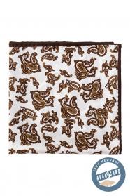 Jedwabna poszetka z brązowym motywem Paisley