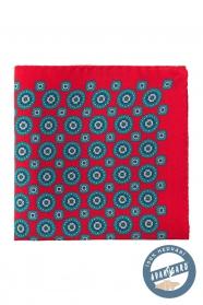 Czerwona jedwabna poszetka z niebieskim wzorem