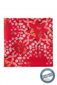 Jedwabna poszetka z motywem kwiatowym i motylkowym - czerwona