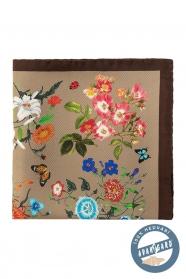 Jedwabna poszetka z kwiatami i motylami - brązowa, beżowa