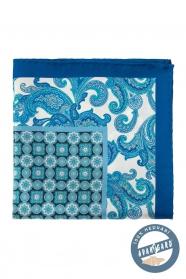 Jedwabno-niebieska poszetka z kwiatowym wzorem i kostką