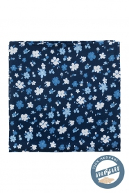 Niebieski kwiecisty jedwabny poszetka