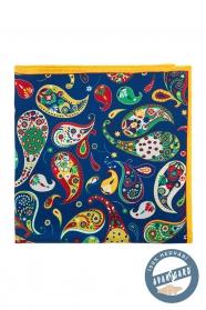 Kolorowa jedwabna poszetka, wzór Paisley