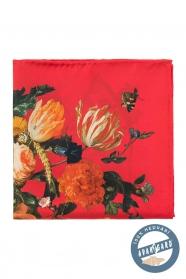 Jedwabna poszetka z czerwonymi kwiatami dla mężczyzn