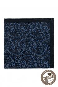 Ciemnoniebieska wełniana poszetka Paisley