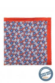 Pomarańczowo-niebieska jedwabna poszetka w kwiaty