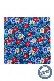 Jedwabna poszetka niebieskie i czerwone kwiaty