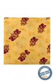 Żółta jedwabna poszetka brązowe kwiaty