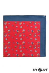 Czerwona poszetka z niebieską obwódką, małe kwiaty