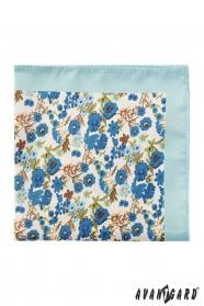 Poszetka poliestrowa męska z niebieskimi kwiatami