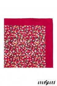 Czerwona poszetka z małymi kwiatami