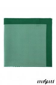 Poszetka męska w zielono-białe wzory