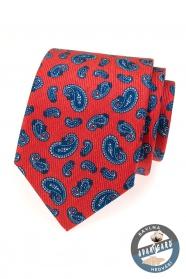 Czerwony jedwabny krawat z niebieskimi motywami paisley