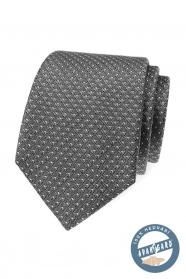Szary jedwabny wzorzysty krawat w pudełku