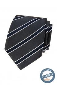 Szary jedwabny krawat z niebieskim paskiem w pudełku