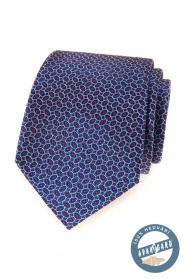 Niebieski jedwabny krawat z czerwonym wzorem