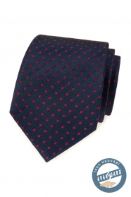 Niebieski jedwabny krawat z czerwonymi kwadratami