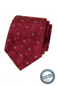 Jedwabny krawat we wzór w kolorze bordowym