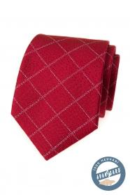 Czerwony krawat jedwabny wzorem siatki
