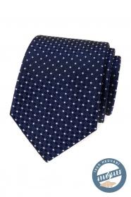 Niebieski jedwabny krawat z białym wzorem
