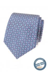 Jedwabny krawat w niebiesko-różowy wzór