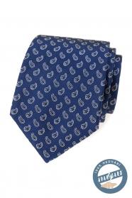 Niebieski jedwabny krawat z małym wzorem paisley