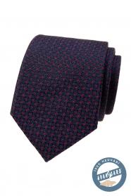 Niebieski krawat z jedwabiu w czerwony wzór