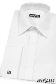 Męska koszula na spinki do mankietów z zakrytą klapą Biała
