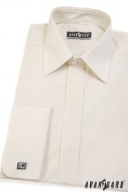 Kremowa gładka koszula męska na spinki z zakrytą klapą