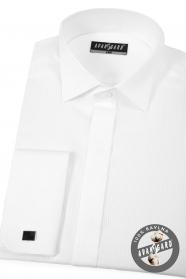 Biała luksusowa koszula smokingowa z podwójnym mankietem