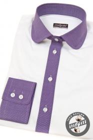 Biała damska koszula z fioletowymi dodatkami, długie rękawy